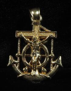"10k Gold Crucifix Anchor Pendant, 1"" Long, 1.16g"