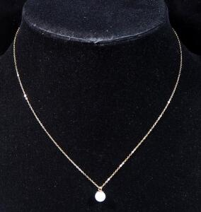 "14k Gold Necklace, 15.5"" Long, With White Pearl-like Pendant, 0.78g"
