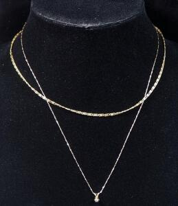 "Two 14k Gold Necklaces, One Is 18"" Long With Clear Stone Pendant, Other 16"" Long, Combined Weight 3.2 Grams Including Pendant"