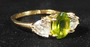14k Gold Ring With Green And Clear Stones, Size 7-1/2, 3.9g Including Stones