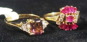 14k GP Ring With Magenta And Clear Stones, Size 7-1/4, 3.3g Including Stones And 14k GE Ring With Magenta And Clear Stones, Size 6-1/2, 2.9g w/ Stones