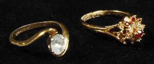 Two 14k GE Rings, One With Clear Stone, Size 7-1/4, 2.27g Including Stone, Other With Red And Clear Stones, Size 8-3/4, 3.1g Including Stones