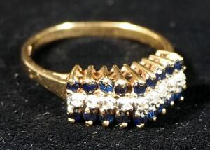 10k Gold Ring With Indigo And Clear Stone, Size 7-3/4, 2.76g Including Stones