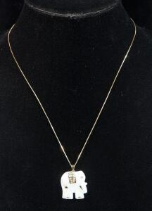 "14k Gold Necklace With Elephant Pendant Believed to Be Jade, 19"" Long, 6.88g Including Pendant"