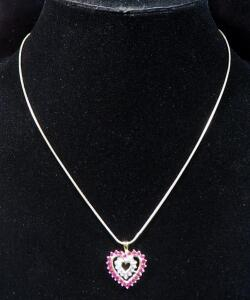 "10k Gold Heart Shaped Pendant With Magenta And Clear Stones On Gold Toned Chain, 18"" Long, 6.95g Total Weight Including Chain"