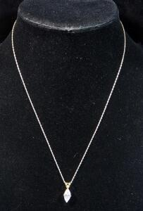 "10k Gold Necklace, 18"" Long, With Clear Stone Pendant, 1.6g Including Pendant"