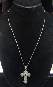 "Sterling Silver Necklace, 24"" Long, With Sterling Silver Cross Pendant With Black Stone, 11g Total Including Stone"