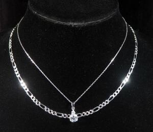 "Sterling Silver Necklace, 17"" Long, 9.2g, And Sterling Silver Necklace 15"" Long With Sterling Silver Pendant And Clear Stone, 2.7g Including Stone"