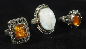 3 Sterling Silver Rings With Amber And White Stones, Sizes Include Two 7-1/4, 8-1/2, Total Combined Weight 11g Including Stones