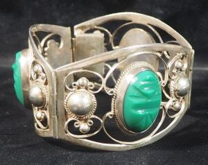 "Sterling Silver Hinged Cuff Bracelet, Approx 2.5"" Diameter, With Green Stones"