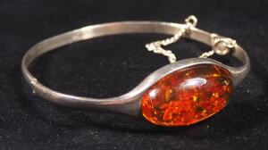 "Sterling Silver Hinged Bracelet, 2.25"" Diameter, With Amber Stone"