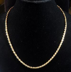 "14k Gold Plated Necklace, 22"" Long, 17g"