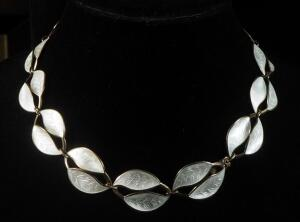 "Sterling Silver Gold Toned Back And White Front Necklace, 17"" Long, 51g Total Weight"
