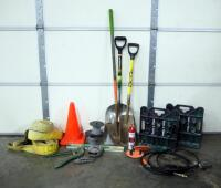 Assorted Constructions Supplies, Includes Heavy Duty Straps, Air Hose, Pipe Cutters, Chain, Wire Reel, Level, Shovels And More