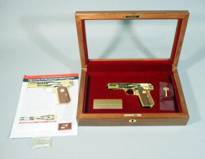 "America Remembers ""Salute To The Military Tribute Pistol"" Colt 1903 .32 ACP Hammerless Pocket Pistol SN# GOP1180, #105 Of 250, Decorated In 24K Gold & Nickel, Working Firearm, No COA, SEE DESCRIPTION"