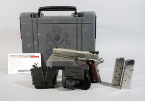 Springfield Armory Model 1911-A1 .45 Cal Pistol SN# NM 484451, With 3 Total Mags, Holster, 2 Mag Holder And Paperwork, In Original Box