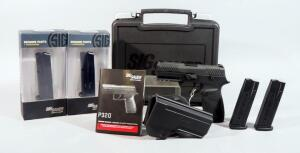 Sig Sauer P320 9mm Pistol SN# 58A030386, With Holster, 5 Total Mags (2 New In Box), Paperwork, In Original Hard Case