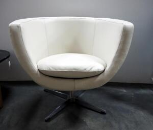 "EQ3 Tub Chair With Leather Upholstery, Swivel Base, 29"" High x 34"" Wide x 26"" Deep"