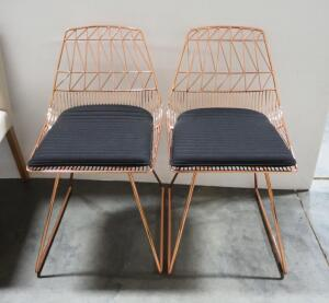 "Lucy Side Chairs, Copper Frames, Removable Padded Seats, 32"" High x 19"" Wide x 15"" Deep, Qty 2"