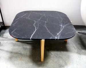 "Gus Modern Quarry Square Coffee Table, Nero Marble Top And Solid Wood Ash Legs, 15"" High x 35"" Wide x 35"" Deep"