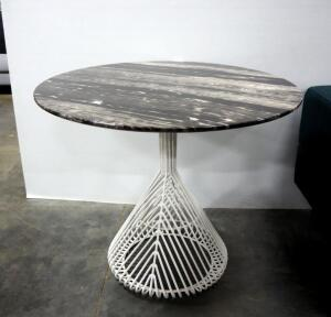 "Bend Bistro Table, Black Marble Top, Galvanized Iron Base, 30"" High x 36"" Dia"