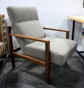 "Armchair With Upholstered Seat And Back, Wood Legs, 37.5"" High x 26"" Wide x 33"" Deep"