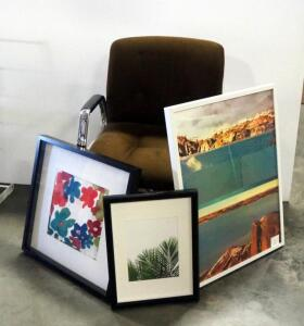 Framed Art, Various Sizes, Qty 3, Includes Floral, Plant And Landscape Images, 2 In Shadow Boxes, And Rolling Office Chair