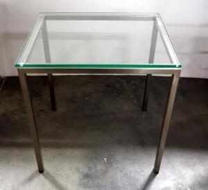 "EQ3 Custom End Table, Tempered Glass Top, 19.75"" High x 18"" Wide x 14.25"" Deep"