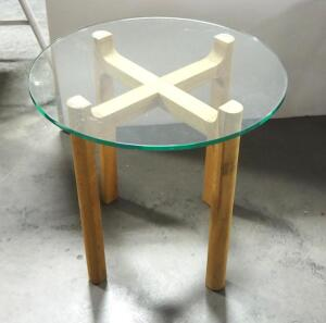"EQ3 Place Round End Table, 19.25"" High x 19.5"" Deep"