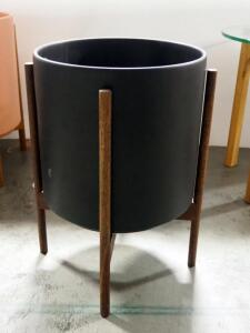 "Modern Design ""The Twelve"" Planter With Stand, Planter Is 13"" High x 13.25"" Dia"