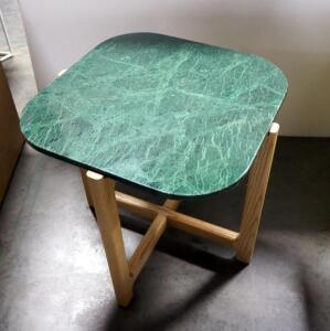 "Gus Modern Quarry End Table, Verde Marble Top And Solid Ash Wood Legs, 18"" High x 19"" Wide x 19"" Deep"