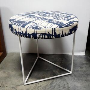 "Gus Modern Nova Stool, Padded Seat With Franz Indigo Upholstery, 17"" High x 18"" Dia"