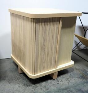 "EQ3 Tambour End Table, Made Of Ash, 21"" High x 18"" Wide x 18"" Deep"