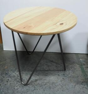 "Side Table With Solid Wood Top And Metal Legs, 21"" High x 22"" Dia"