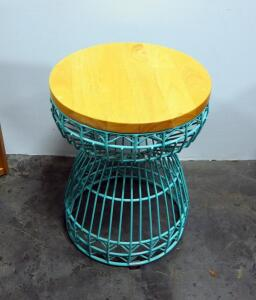 "Wireframe Side Table With Solid Wood Top, 18"" High x 14"" Dia"