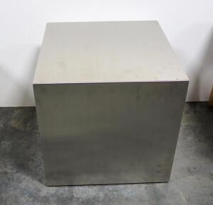 "Gus Stainless Steel Cube End Table, Brushed Finish, 17.75"" High x 17.75"" Wide x 17.75"" Deep"