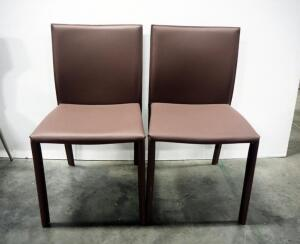 "EQ3 Acel Dining Chairs, Covered In Recycled Leather, 33"" High x 19"" Wide x 22"" Deep, Qty 2"