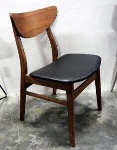 "Colby Dining Chair, Walnut Stained Rubber Wood Frame, Padded Naugahyde Seat Cushion, 30"" High x 18"" Wide x 20"" Deep"