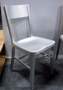 "Tribecca Brushed Aluminum Dining Chair, 33"" High x 15.5"" Wide x 17.5"" Deep"