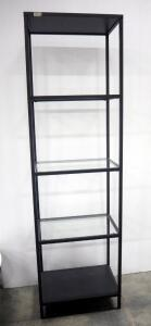 "Ikea Vittsjo Shelving, 3 Stationary Glass Shelves, Reversible Top And Bottom Panels For Either Black/Brown Or Black Color, 69"" H x 20"" W x 14.25"" D"