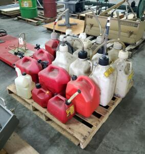 Fuel Can Assortment, Including 5 Gal. Racing Fuel Containers, 5 Gal Gasoline Container, Contents Of Pallet. Qty 19
