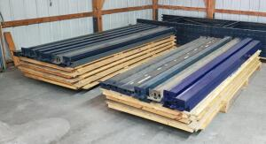 12' Steel Pallet Racking System Including 6 Uprights And 28 Cross Beams Including Wood Shelf, Bidder Responsible For Proper Removal
