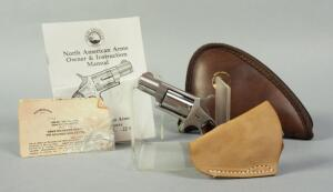 North American Arms .22 LR 5-Shot Derringer SN# C96224, Stainless Steel, With Leather Holster And Paperwork, In Soft Case