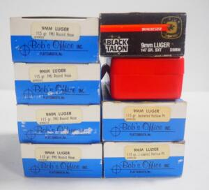 9mm Luger Ammo, Includes 115 gr FMJ RN Approx 200 Rds, 115 gr JHP Approx 100 Rds And Winchester Black Talon 147 gr SXT 20 Rds, Local Pickup Only