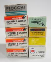 .32 Cal Ammo, Includes Winchester S&W 85 gr, Hansen ACP 71 gr FMJ, Western 71 gr, Navy Arms, Fiocchi And More, Approx 425 Total Rds, Local Pickup Only
