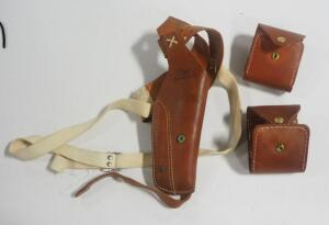Hunter Left Handed Leather Shoulder Holster Marked 33-30 54M And 2 Leather Cartridge Cases