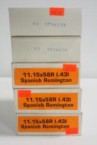 11.15x58R (.43) Spanish Remington Ammo, Approx 99 Rounds, Local Pickup Only