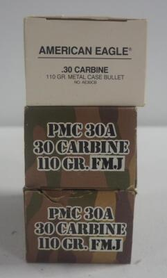 PMC 30 Carbine 110 gr FMJ Ammo, Approx 100 Rounds, And American Eagle 30 Carbine 110 gr Metal Case, Approx 50 Rounds, Local Pickup Only
