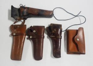 Four Leather Revolver Holsters, Brands Include S&W, Hunter, Colorado, And Black Sheep And S&W Leather Pouch