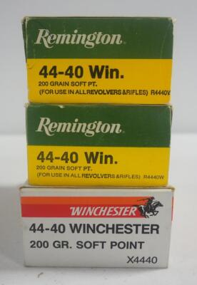 44-40 WIN 200 gr Soft Point Ammo, Includes Winchester And Remington, Approx 150 Rounds, Local Pickup Only